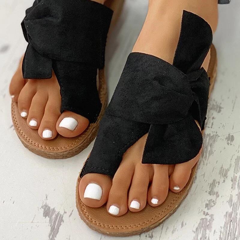 De fondo plano antideslizante zapatos del bowknot mujeres de gran tamaño 2020 sandalias de verano al aire libre todo-fósforo de la playa de los deslizadores de la venta caliente
