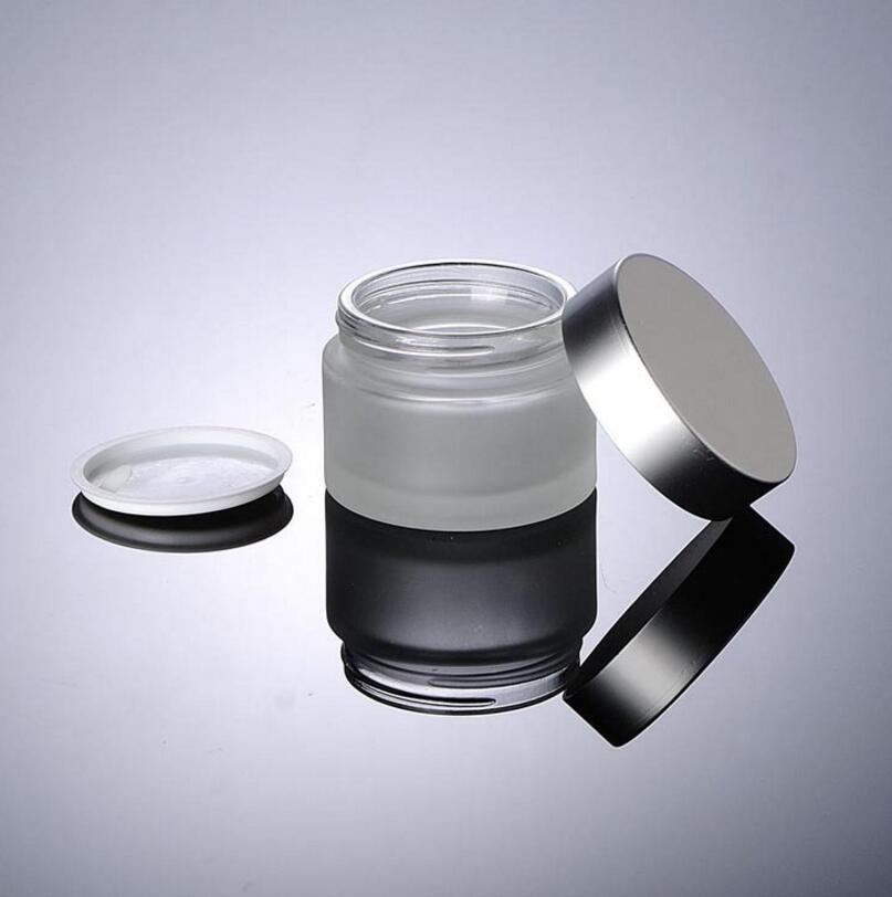 300pcs / lot esmerilado de cristal 15ml pequeña muestra cosmética botella de 15g envases vacíos tarro de crema con tapas de plata