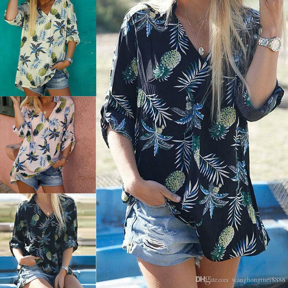 새로운 여성 파인애플 인쇄 블라우스 셔츠 긴 소매 섹시한 V 넥 느슨한 슬림 블라우스 여성 Boho 탑 캐주얼 블라우스 플러스 사이즈