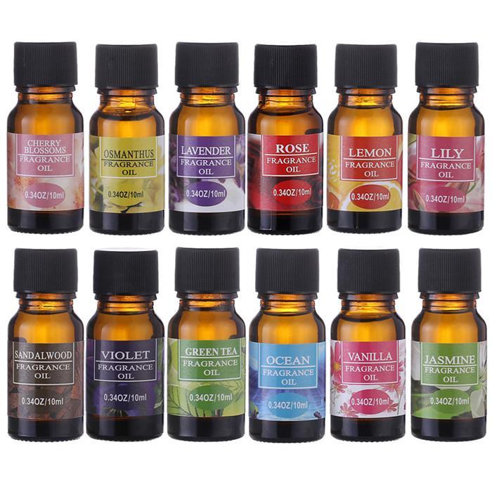 Ätherische Öle 10ml Blumen-Frucht-Ätherisches Öl für die Aromatherapie Diffusoren Lufterfrischer Körpermassage Entlasten Öl Hautpflege 12st