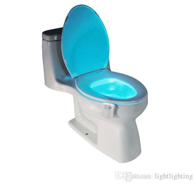 PIR استشعار الحركة المرحاض مقعد الجدة أدى مصباح 8 ألوان تغيير السيارات الأشعة تحت الحثية ضوء وعاء للإضاءة الحمام