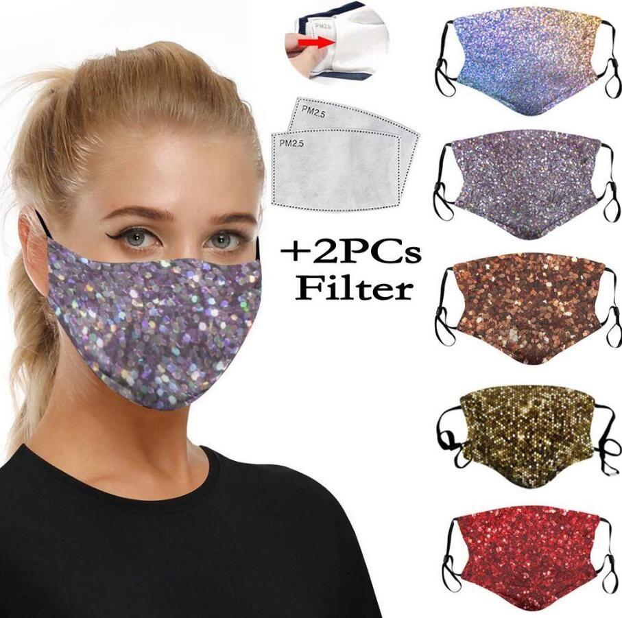 الأزياء 3D الطباعة الترتر واقية قناع أقنعة الغبار PM2.5 الفم قابل للغسل قابلة لإعادة الاستخدام المرأة قناع الوجه مع 2PCS تصفية