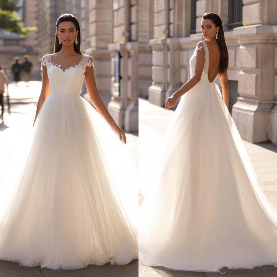 Milla Nova Beach vestidos de novia 2020 vestidos de un aplique de encaje línea de barrido tren de Boho nupcial por encargo de Bohemia vestido de novia simple