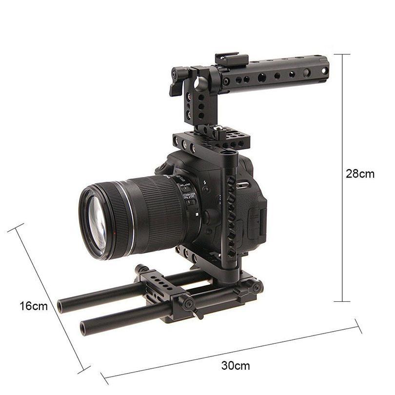 CAMVATE Aluminum DSLR Cage Top Handle Grip Camera Stabilizer Rig Tripod Mount Plate For Canon Nikon Sony Panasonnic 1229 (2)