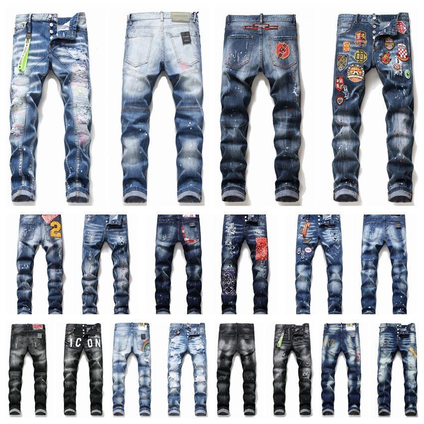 2020 het D2 Erkek Denim Jean Nakış Pantolon deliklere rozetleri Jeans Fermuar Mendsq2 Pantolon Pantolon kot 6wc161 # jeansds2men sıska