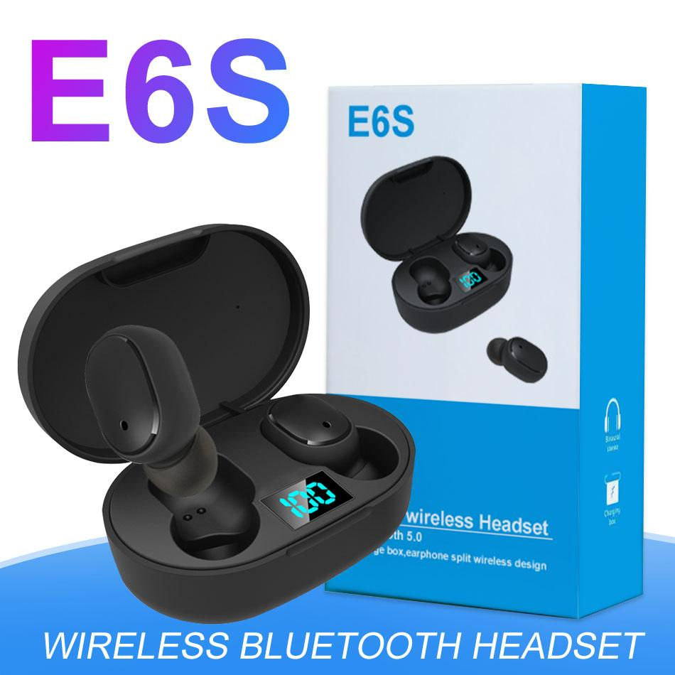 E6s TWS sem fio Fone de ouvido Bluetooth 6D Stereo Headsets Bluetooth display 5.0 LED Headphone PK I11 I9S I18 i7 TWS com Retail Box