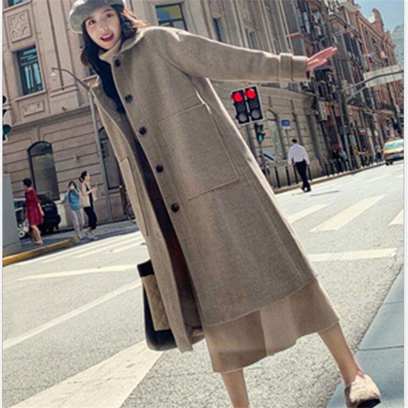 New Casual outono inverno Loose Women lã Coats Feminino Single-breasted Turn-Down Collar Elegante Longo Moda Casacos T191109