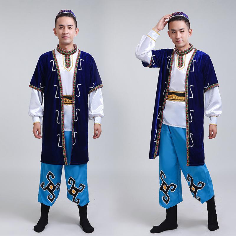Etapa Wear 2021 Hombre Xinjiang Dance Show Ropa Adulto Hui Uygur Grupo étnico Minoría Kazakh Ropa Accesorios