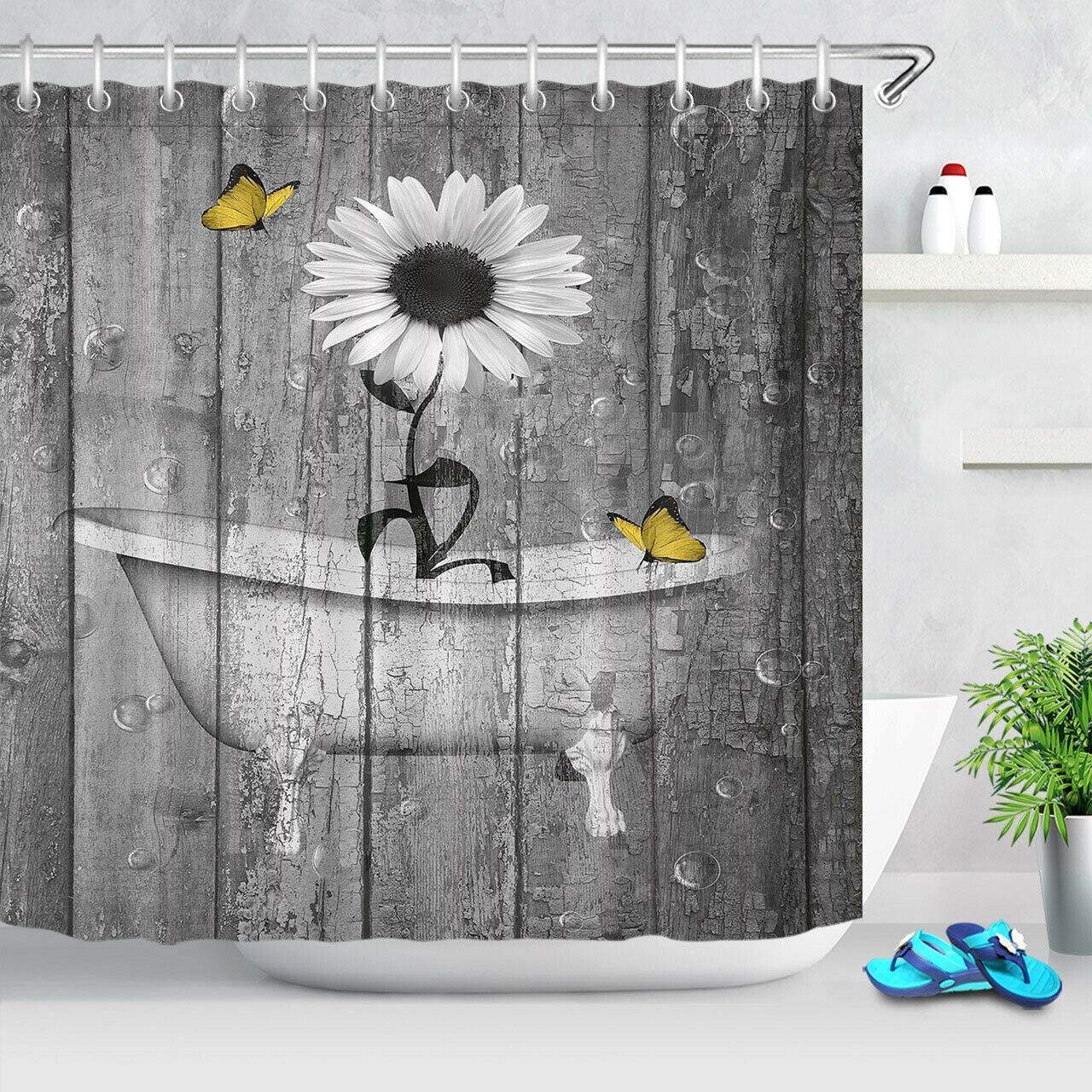 Wood Board Bathtub White Flower Shower Curtain Bathroom Accessory Sets