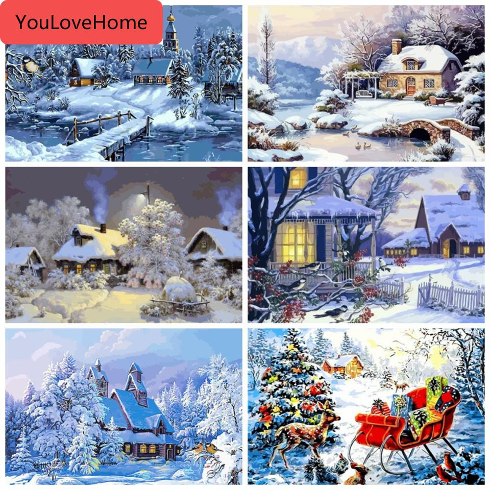 Diy Winter Scenery Oil Painting By Numbers Full Kits Paints By Number Canvas Painting Home Decor For Adults Landscape Paint Number Kits