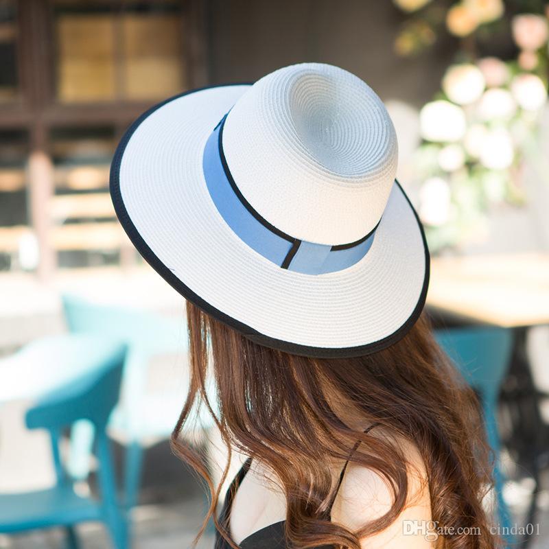 المرأة مثير عارضة الصيف واسعة بريم قبعات لطيف قبعات الشمس الإناث سترو قبعة مخطط المطبوعة القبعات