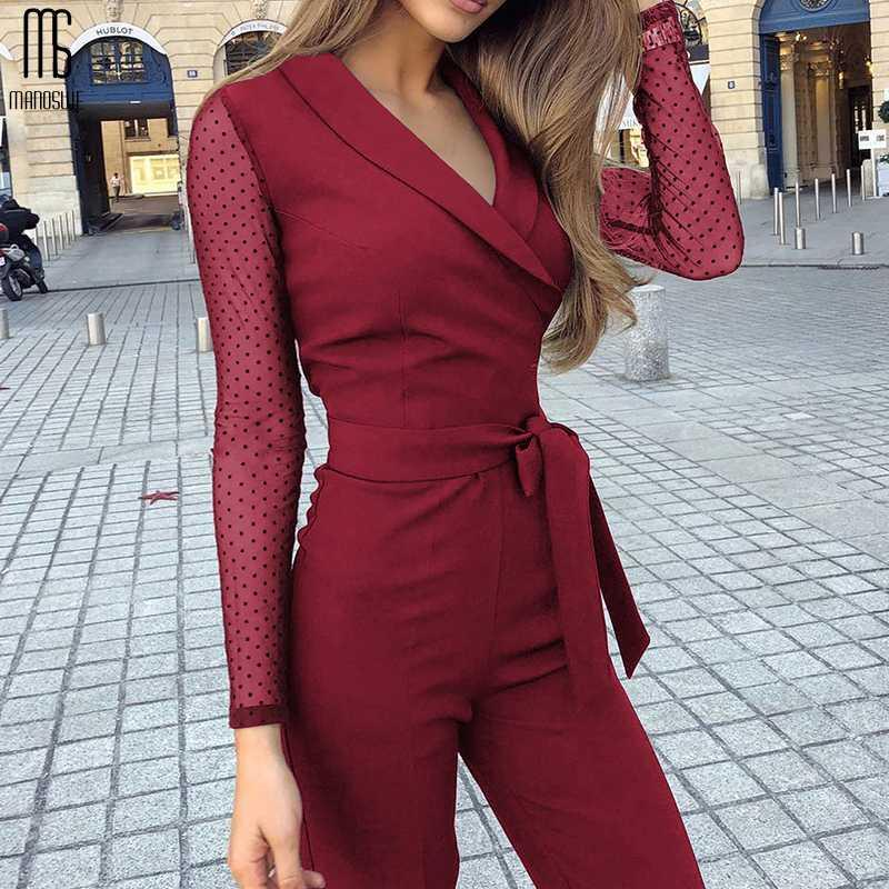 Manoswe новых женщин бордовый V-образным вырезом Строчка в горошек с длинным рукавом комбинезона 2020 Весна Осень Straight Set Комбинезон легкий костюм с шортами