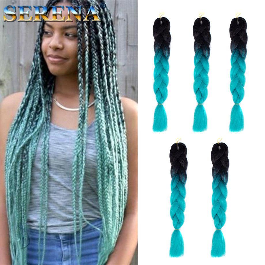 Ombre Xpression Braiding Hair Two Tone Jumbo Crochet Braids Synthetic 24 Inches Crochet Hair Extensions 100% Kanekalon Braiding Hair
