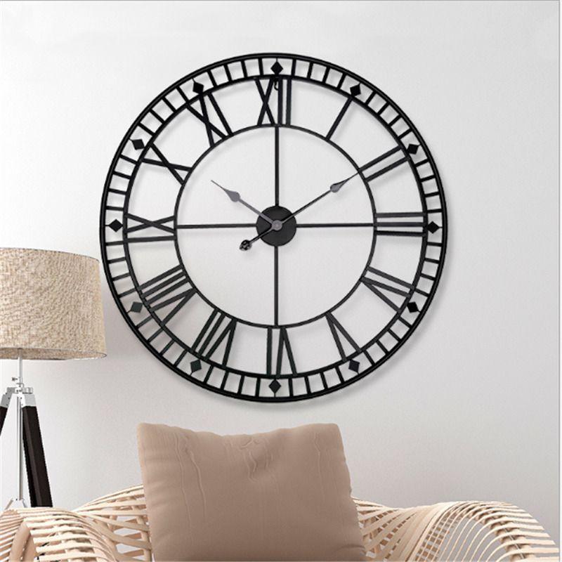 Nordic стиля ретро настенных часы больших домашних часы творческое кованый дизайн железа украшение висит часы для гостиной отеля бесшумного T200601