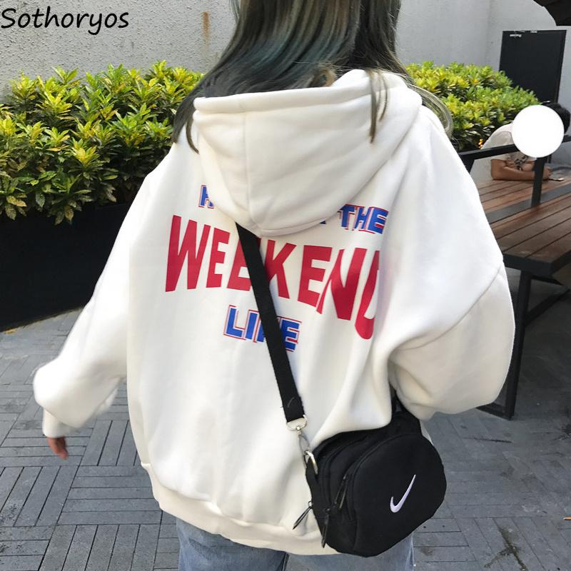 Hoodies Women Letter Printed Loose Hooded Trendy Pockets Plus Velvet Sweatshirts Womens Korean Style Harajuku All-match Chic T191125