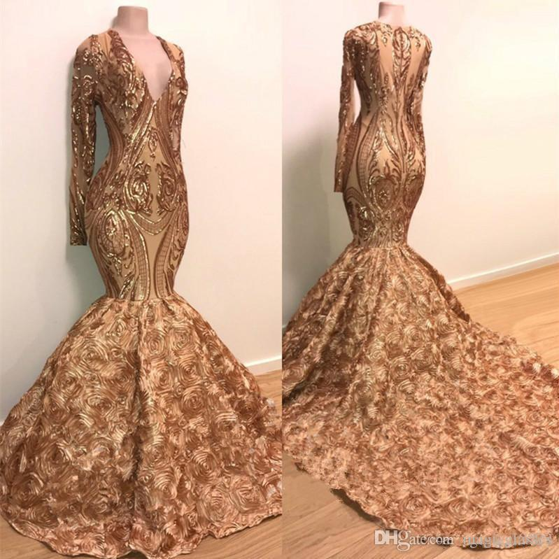 Gold Mermaid Prom Dresses Long Sleeves Deep V Neck Lace Appliques Sequins African Black Girl Evening Gowns Plus Cocktail Party Dress cheap