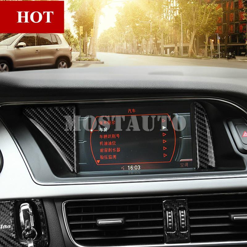 For Audi A4 S4 Carbon Fiber Center Console GPS Navigation Cover Trim 2008-2015