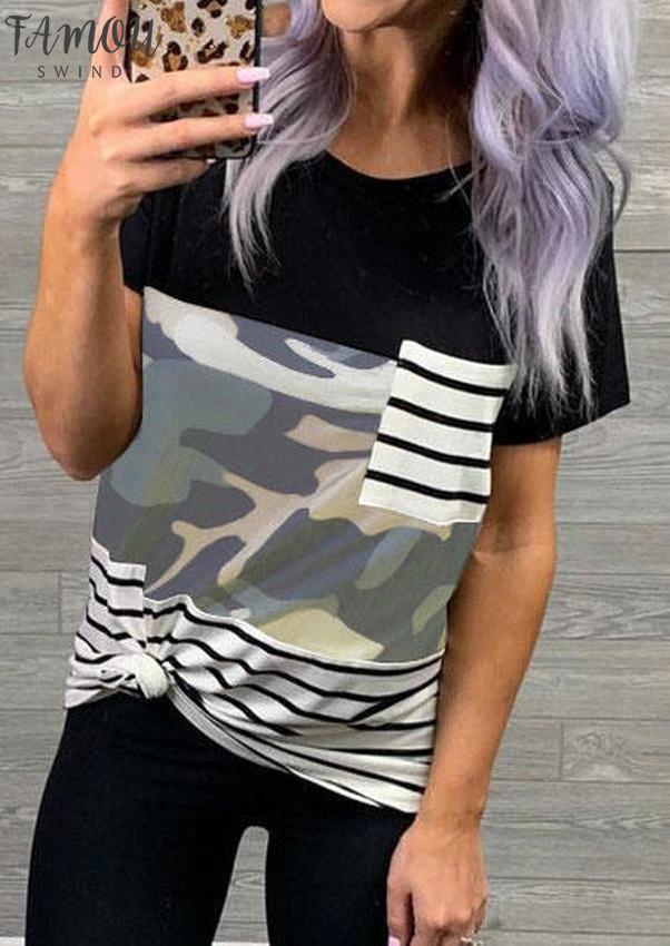 Tapas de las mujeres tee camiseta del verano de rayas de empalme T del bolsillo de la manera del cortocircuito de la camisa camisetas 2020 Nueva camuflaje hembra de la camiseta del cuello de O