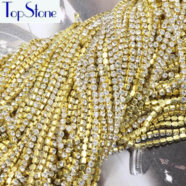 10yards Topstone / porción base de oro cerca AB cristalino blanco diamantes de imitación de 2 mm ES6 Copa densa cadena del Rhinestone para los bolsos de diseño