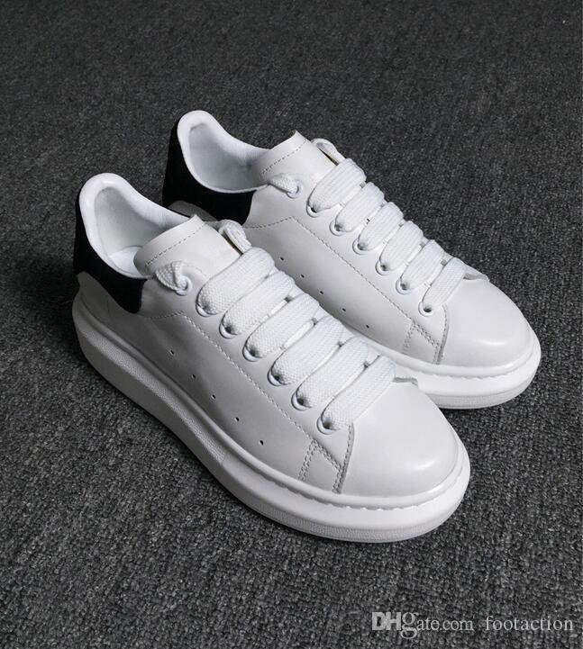 Diseñador Zapatos de lujo casuales de cuero para mujer para hombre blanco de la manera de cuero cómodos zapatos planos ocasionales de la zapatilla de deporte diario jogging barato en venta