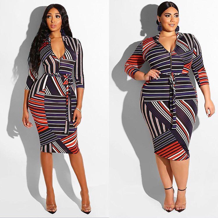 Primavera para mujer otoño diseñador del vestido largo atractivo rayado irregular Imprimir vestidos de Pecho de la cremallera de la pendiente Ropa para mujeres