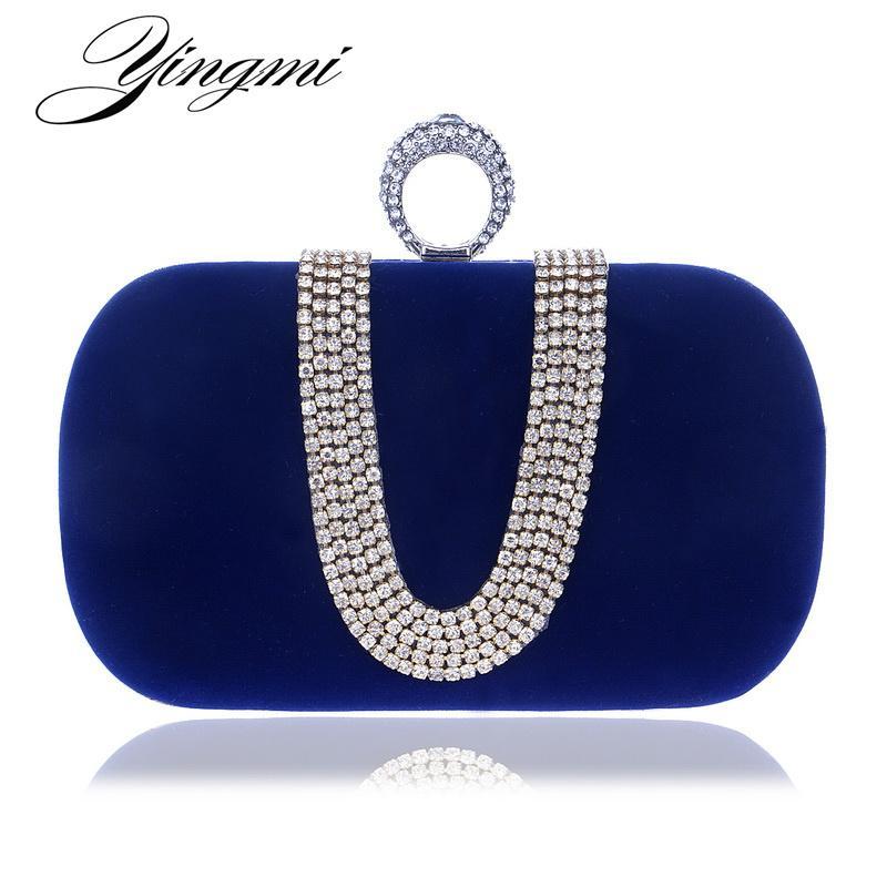 YINGMI Velet Rhinestones Evening Bag Wedding Purse Finger Ring Diamonds Chain Shoulder Handbags Crystal Evening Bag Y200103