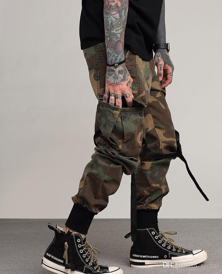 رجل الهيب هوب عداء ببطء السراويل جيوب جانبية خمر التمويه البضائع بانت الشارع الشهير عارضة الحريم بانت العسكرية tatical غسلها بنطلون YX8001