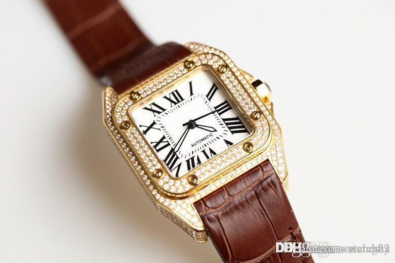 luxo Yamato relógio de diamantes completa de homens. Relógio mecânico automático. O caso de aço inoxidável 316 é incrustado com diamantes Swarovski.
