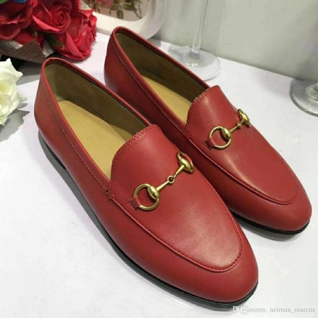 c40d094ab4182 Jordaan Leather Loafer Luxury Brand Designer Loafers Womens Casual Shoes  Single Day Shoes Genuine Leather Red Boottom Flat Shoes Yellow Shoes From  ...