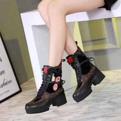 Best boots leather for Women shoes High Quality Middle boots Cowhide stitching elastic retro Thick Heel size jasmine11