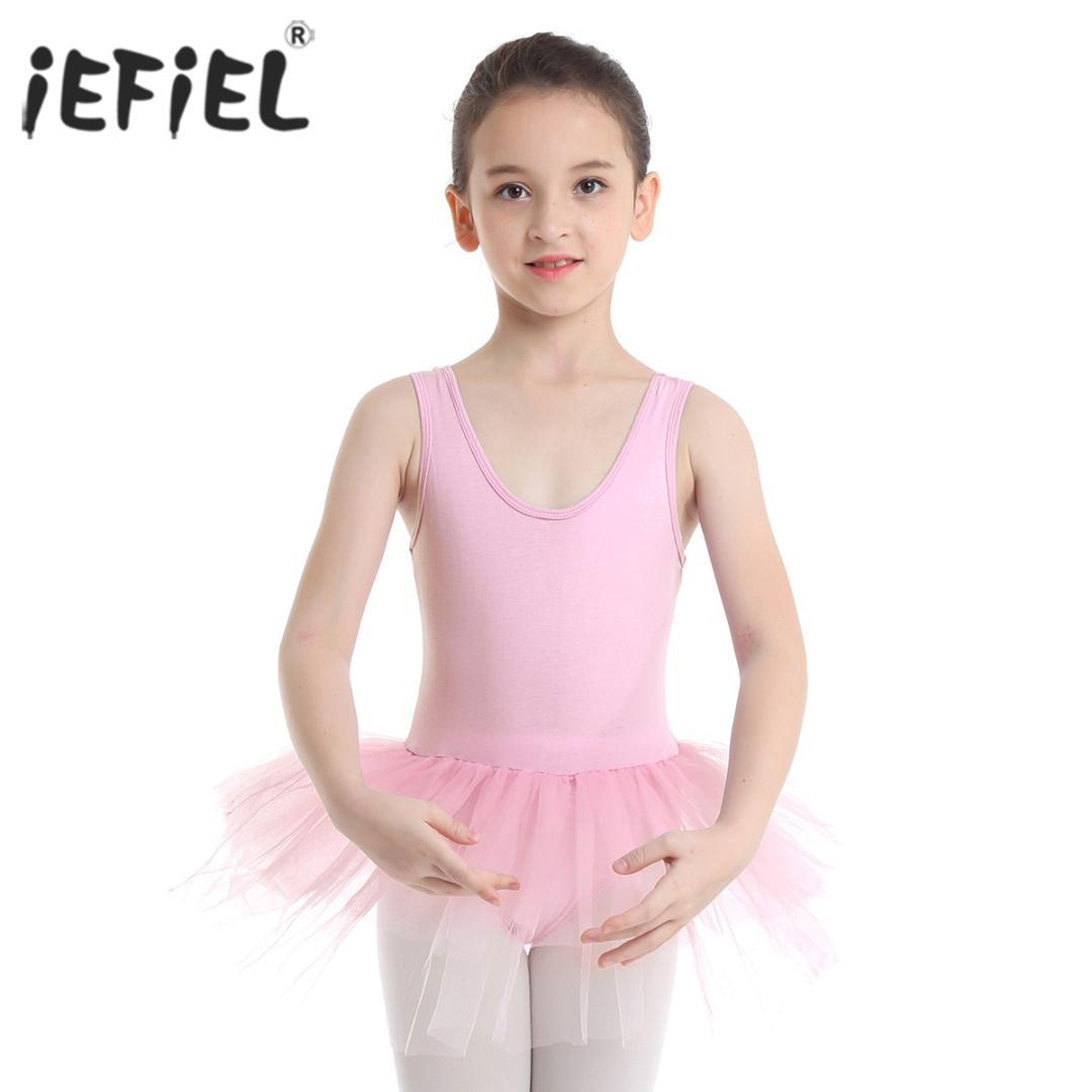 Iefiel الفتيات راقصة الباليه توتو الرقص فئة اللباس التين القطن المتدرج شبكة الباليه الرقص الجمباز يوتار للأطفال زي اللباس