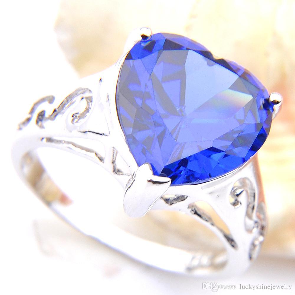 10 PC / en forma de corazón Lote Luckyshine especial Holiday cúbico del azul de la plata zirconia gemas 925 para los anillos de boda de las mujeres Tamaño 7 8 9