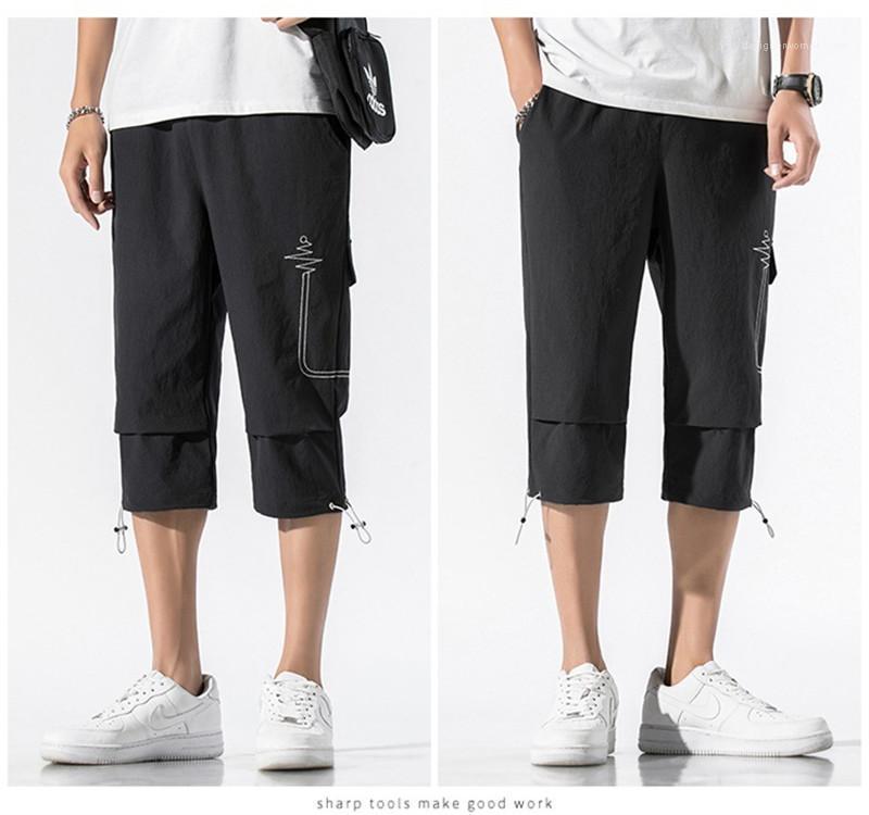 Suelta Deportes cordón Capris pantalones casuales para hombre del bolsillo de la manera del mens del diseño del remiendo del bordado pantalones de verano