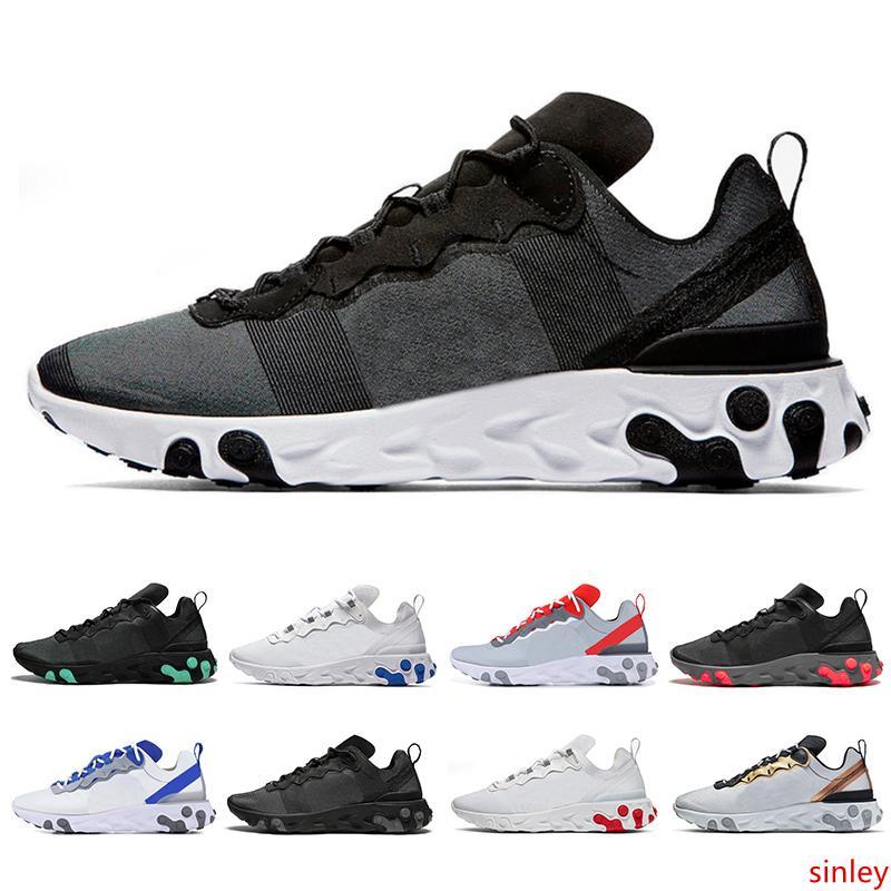 Nueva reaccionar elemento 55 hombres superiores de calidad para mujer zapatos para correr respiran negro blanco deportes oro metálico zapatilla de deporte de los instructores de tamaño 36-45