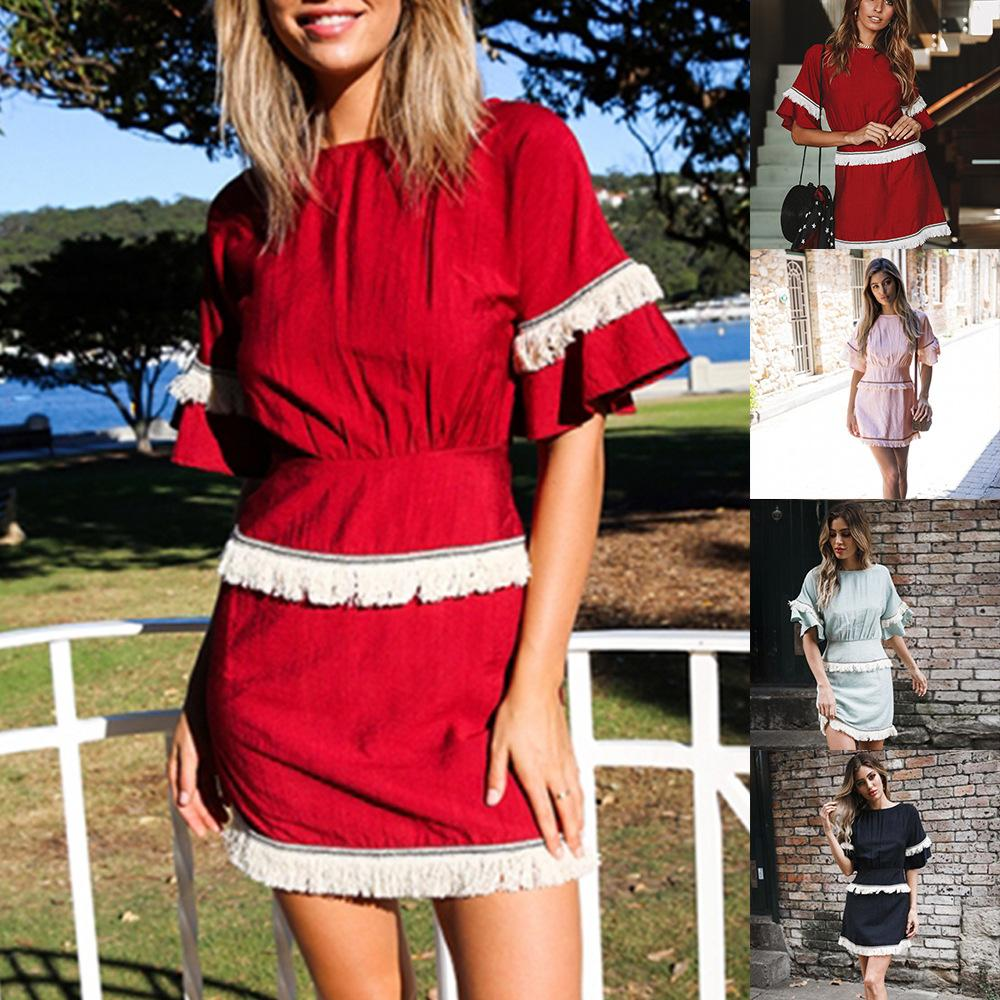 Wine Red 2019 Europe and The United States Summer New Dress Five-color Slim Tassel Dress Loose Skirt Women's Clothing