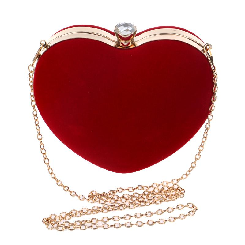 Heart Shaped Diamonds Women Evening Bags Chain Shoulder Purse Day Clutches Evening Bags For Party Wedding