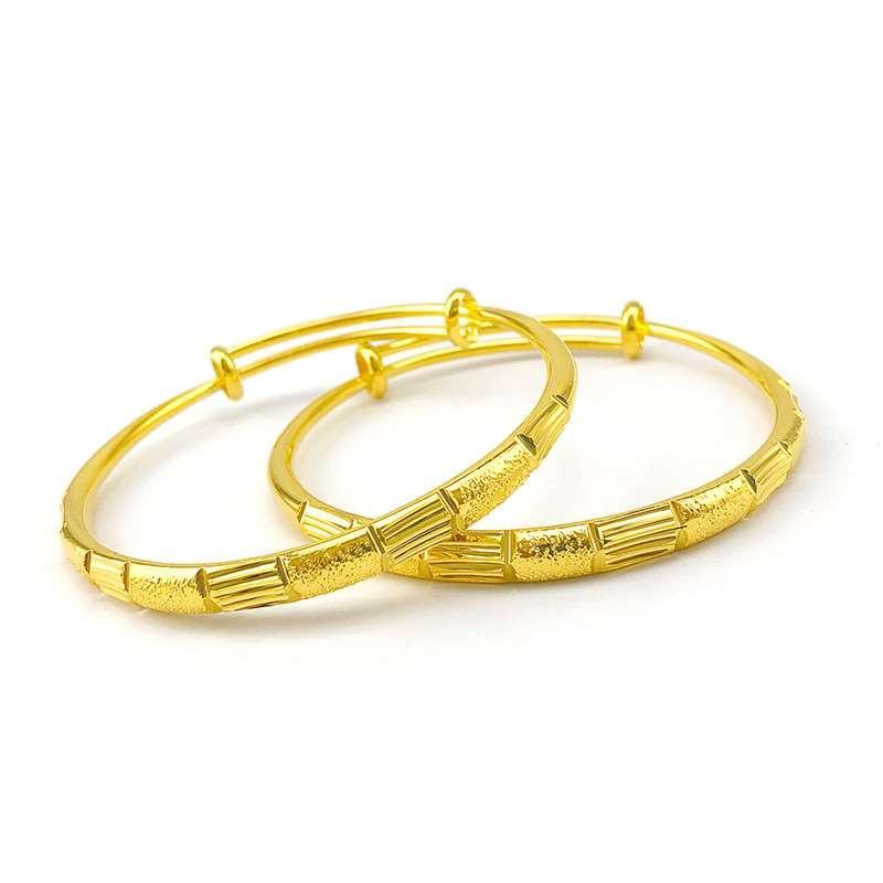 النحاس النقي مطلي 24 كيلو الذهب الأزياء الرجعية الخيزران فرك سوار سوار سوار الذهب
