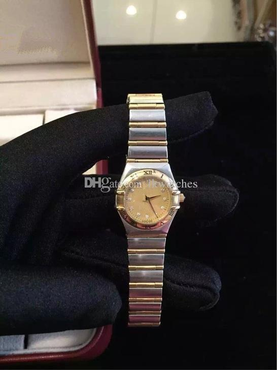 NEW 패션 시계 여성 시계 스테인레스 스틸 팔찌 골드 쿼츠 시계 354
