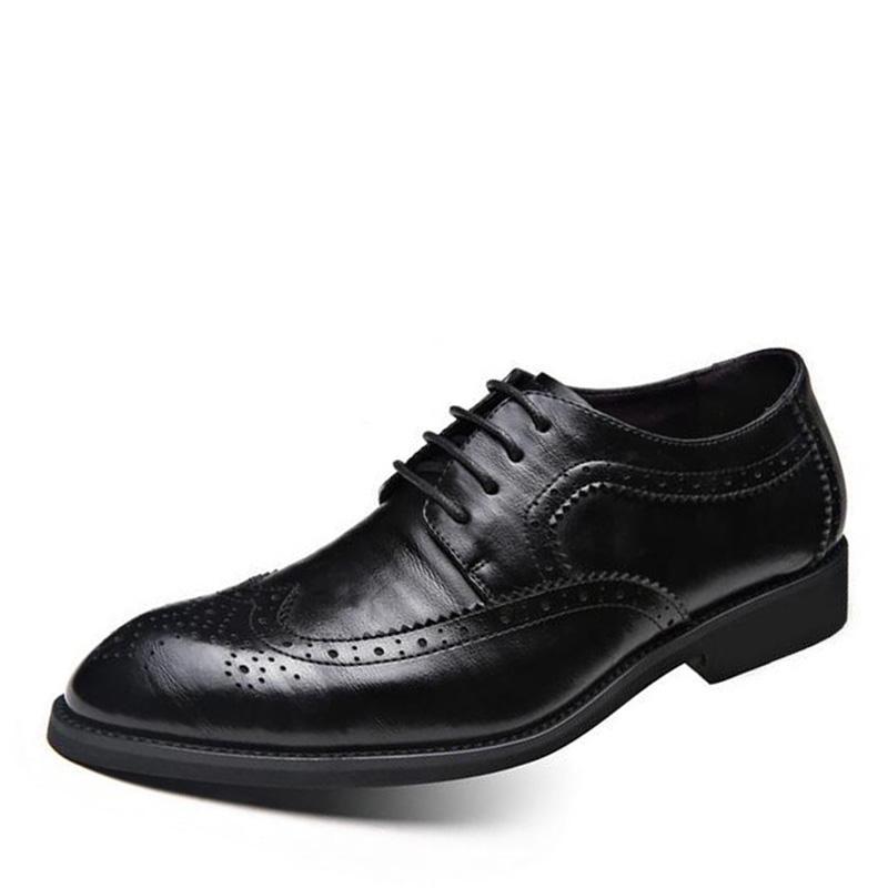 Nueva Bullock alta calidad de cuero genuino de los hombres Zapatos Brogues se deslizan en Bullock comerciales oxfords de los hombres Zapatos planos de los hombres más el tamaño 39-48