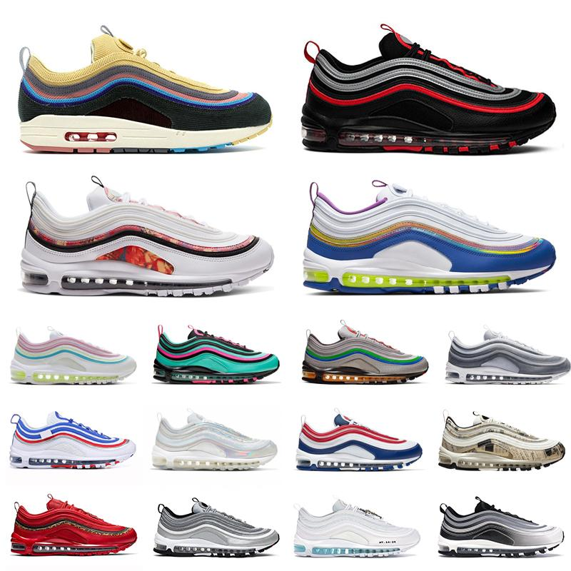 2020 Sean Wotherspoon 97 Mens Running shoes Vintage Mosaic game royal Jesus Triple White Black Silver Bullet 97s Men women sports Sneakers