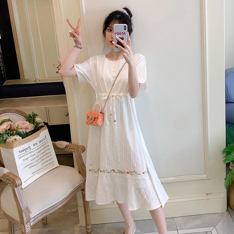 Summer New Maternity Clothes Short Sleeve Floral Embroidered Dress Plus Size Short Sleeve O-Neck Drawstring Pregnant Women Dress