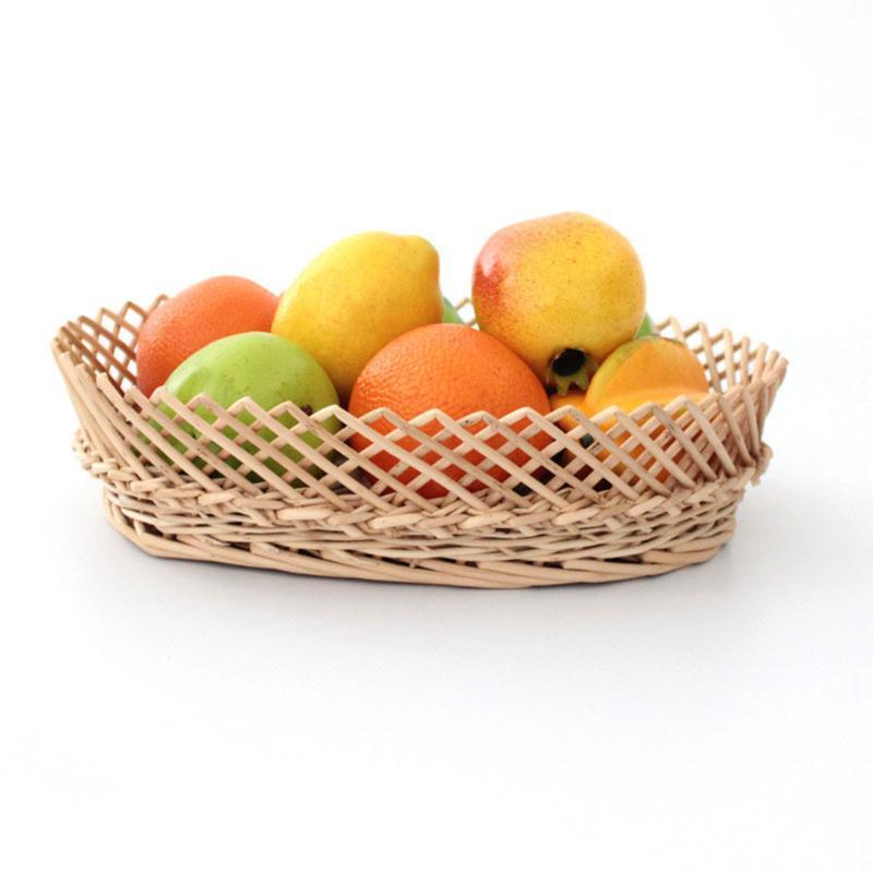 الخضروات الفاكهة سلة التخزين الغصن المنسوجة التي تخدم العرض سلال منظم مطبخ البيضاوي الرباط