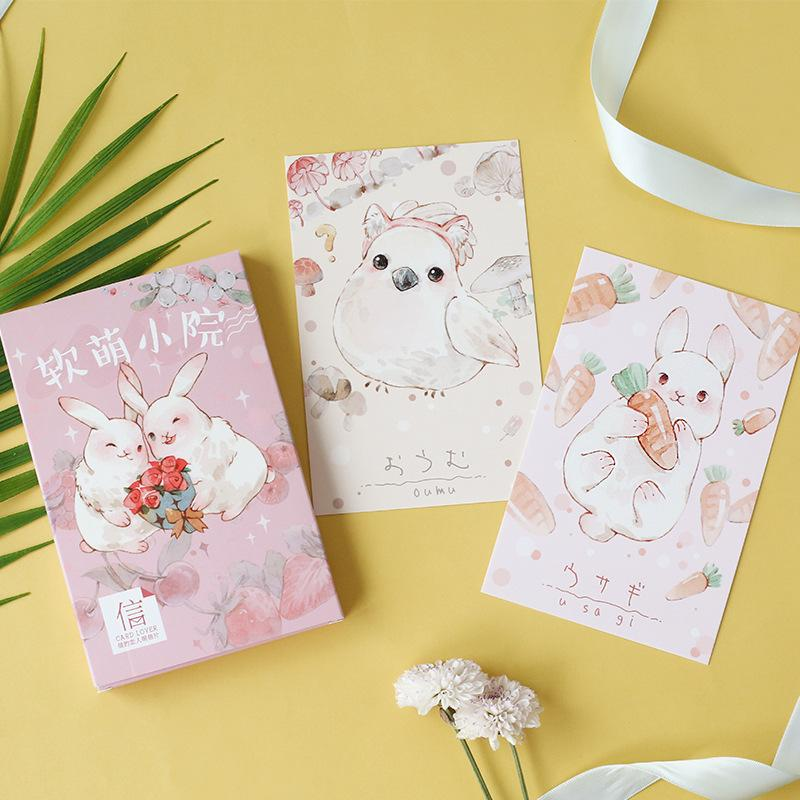 Coloffice 30 Sheets/Box Cute Cartoon Animal Boxed Postcards Regular Creative Letter Card Envelop For Kids Gift Stationery Random