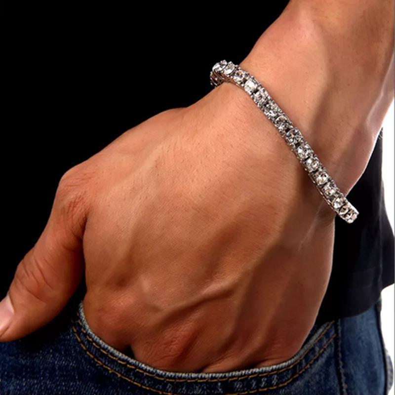 8 pouces Iced Gold Bracelets cubains Link pour Hommes Hip Hop Tennis Bracelets diamant simple rangée bijoux en strass charme