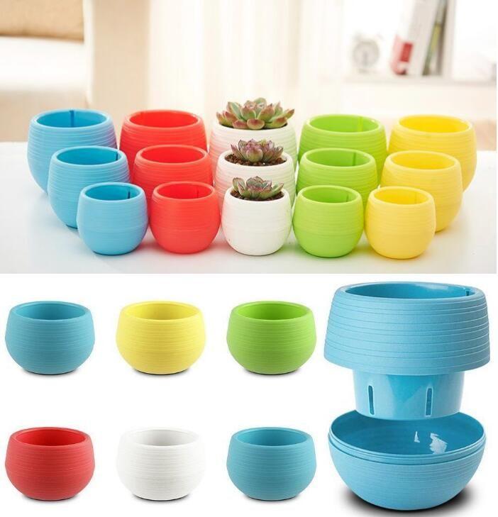6 * 6,5 centímetros Mini Vasos redondos de plástico vazamento de água Buraco Design Jardim do Flowerpot Bonsai Pot Início Suculenta ferramenta planta decoração de casa FFA3038