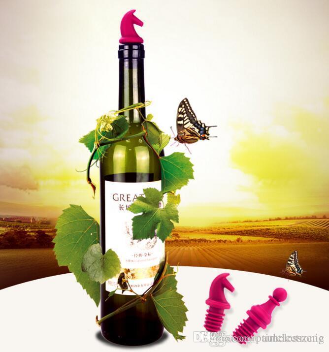 체스 모양의 레드 와인 스토퍼 식품 등급의 실리콘 스토퍼 참신 줄 도구 와인 병 플러그 6PCS / 세트