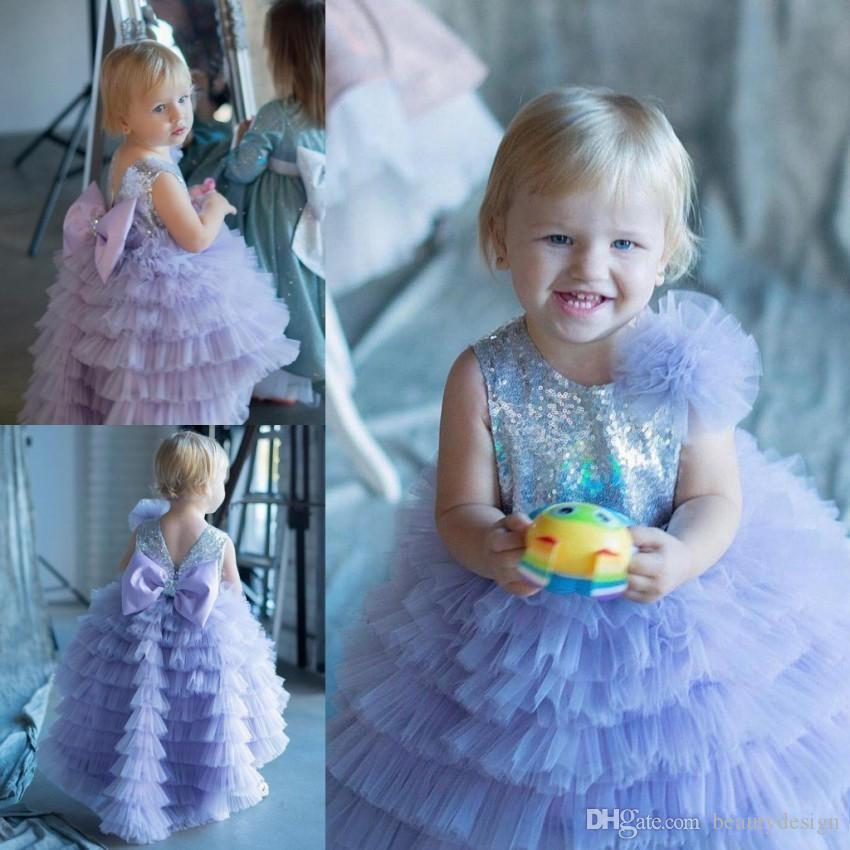 Lavender Sparkly A Line Sequined Flower Girl Dresses For Wedding Tiered Toddler Pageant Gowns Tulle Floor Length Kids Prom Dress