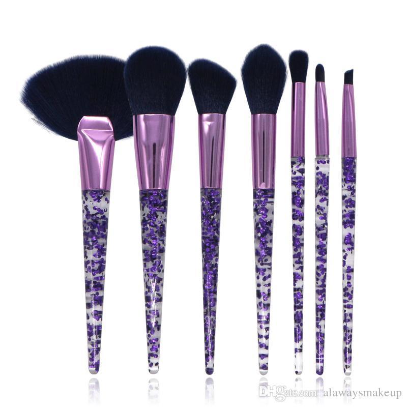 Новый прозрачный набор кисточек для макияжа 7 штук Gemtotal Big Fan Foundation Контурная румяна для губ Синтетическая ручка для волос от Acrylic (Purple)