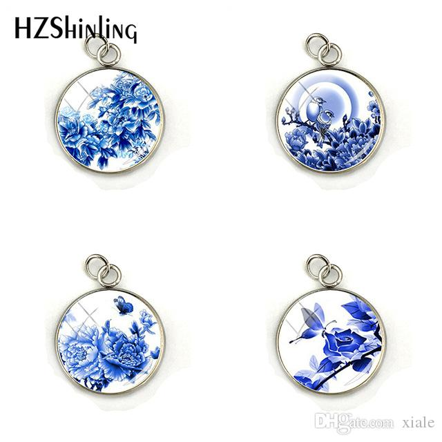 2019 New Fashion Chinese Style Blue Flower And Bird Porcelain Pendant Charms Jewelry Handmade Glass Dome Charm Accessories