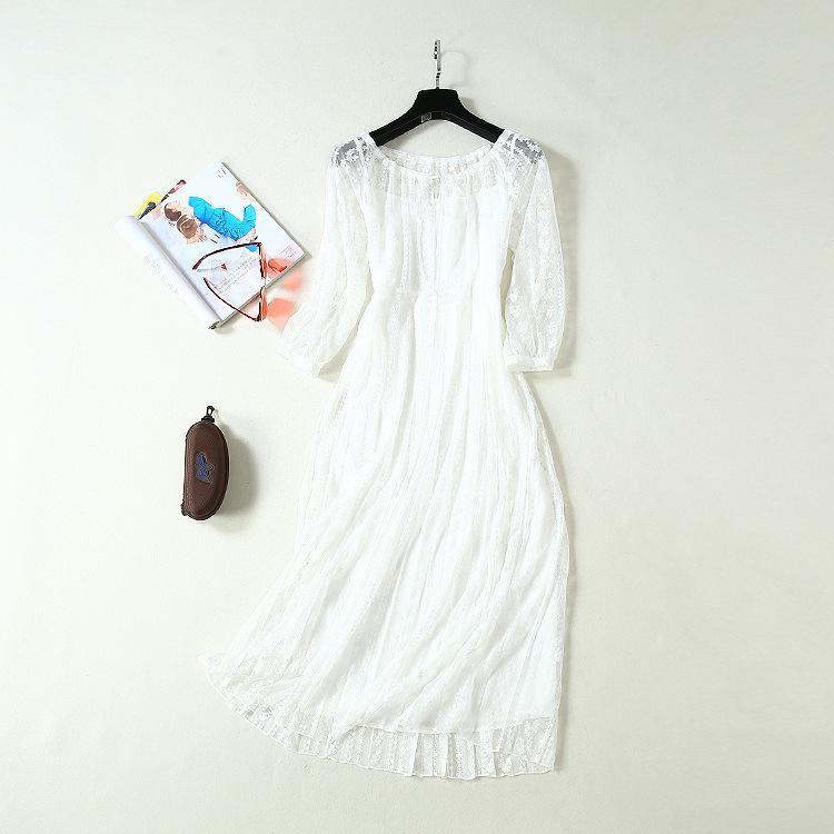 2019 лета осень 4/5 рукав вокруг шеи цветочного узора кружева белого Середина теленок платье Luxury Runway платье JL2508A2-7